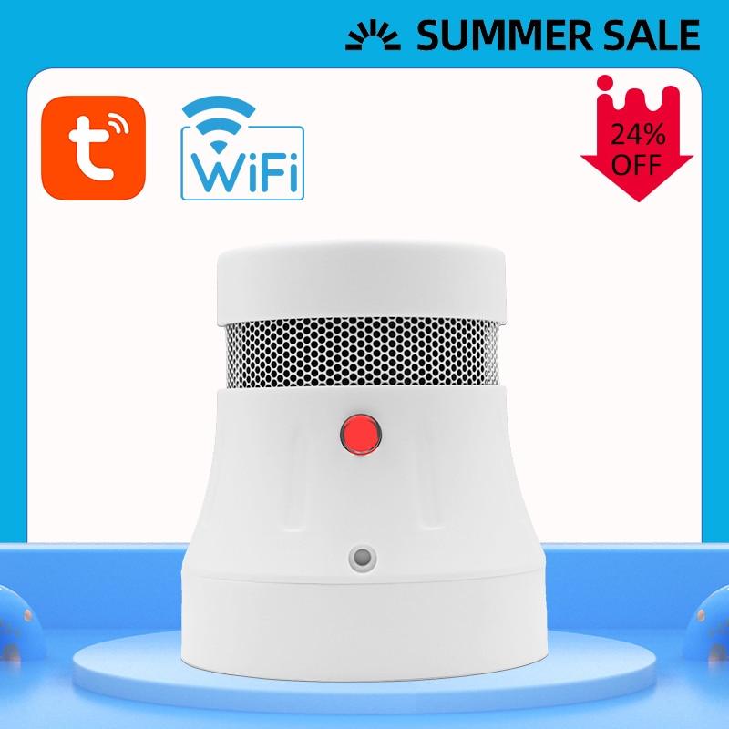 Cpvan wifi detector de fumaça detector de incêndio alarme tuya app controle inteligente sensor de fumaça alarme proteção contra incêndio sistema de segurança em casa