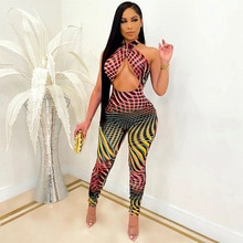 Fashion Casual Women Digital Print Hollow Out Sleeveless Long Pants High Waist Jumpsuits Party Club