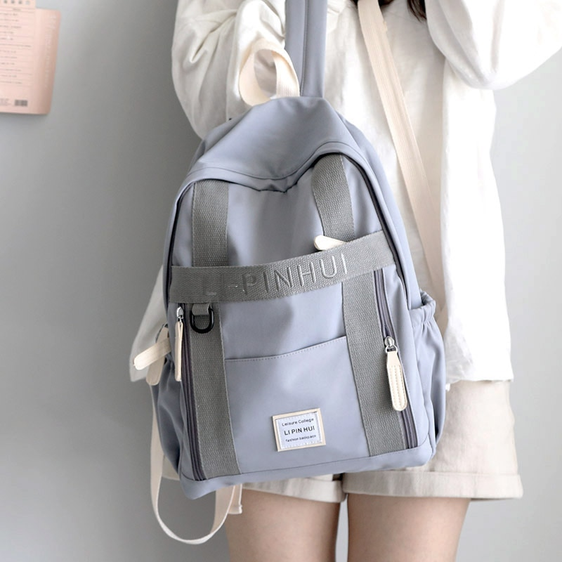 Bordado Ins Wind mochilas mujeres mochilas de escuela para niñas adolescentes negro sólido Back Pack moda escolar fresco Casual Bagpack 2020