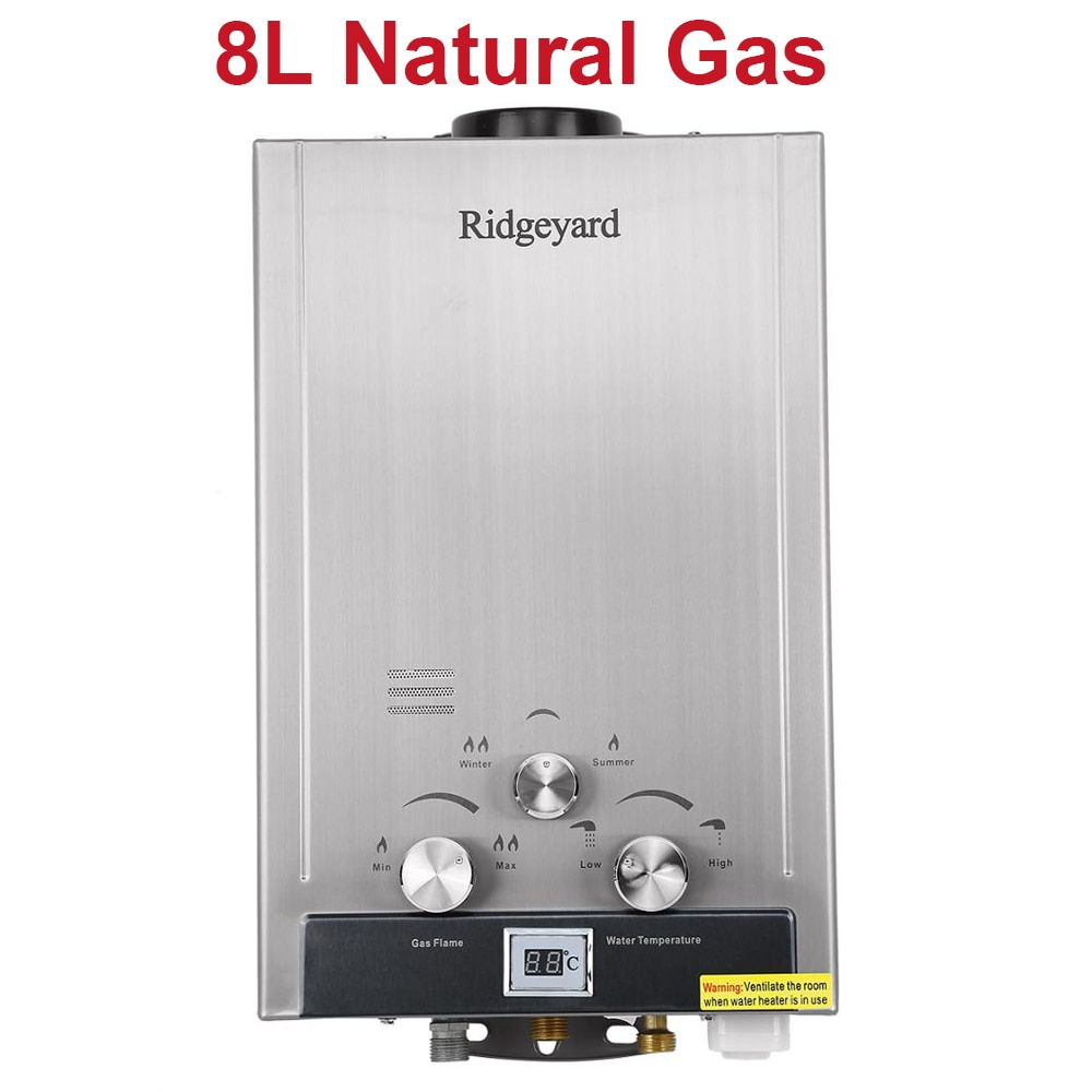 Yonntech 8L Natural Gas Tankless Hot Water Heater Methane Instant Boiler 2GPM Stainless Steel