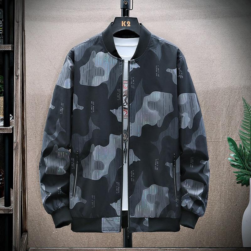جاكيت منفوخ مموه للرجال موضة خريف 2021 ملابس هاراجوكو غير رسمية ملابس عسكرية كبيرة الحجم للرجال سترات بيسبول هيب هوب يابانية 8XL