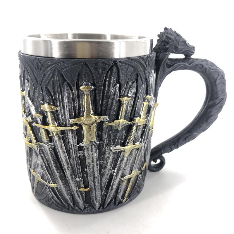 Excalibur resina de acero inoxidable 3D cerveza Medieval taza Copa Juego de tronos jarra de café copa de vino copa de vidrio mejor regalo