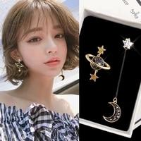 cosmic planet stud earrings asymmetrical star moon long earrings for women fashion simple jewelry korean style earrings o5e675