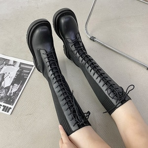 Boots women but knee ins net red stretch thin boots tall knight boots British style Martin boots female wild tide