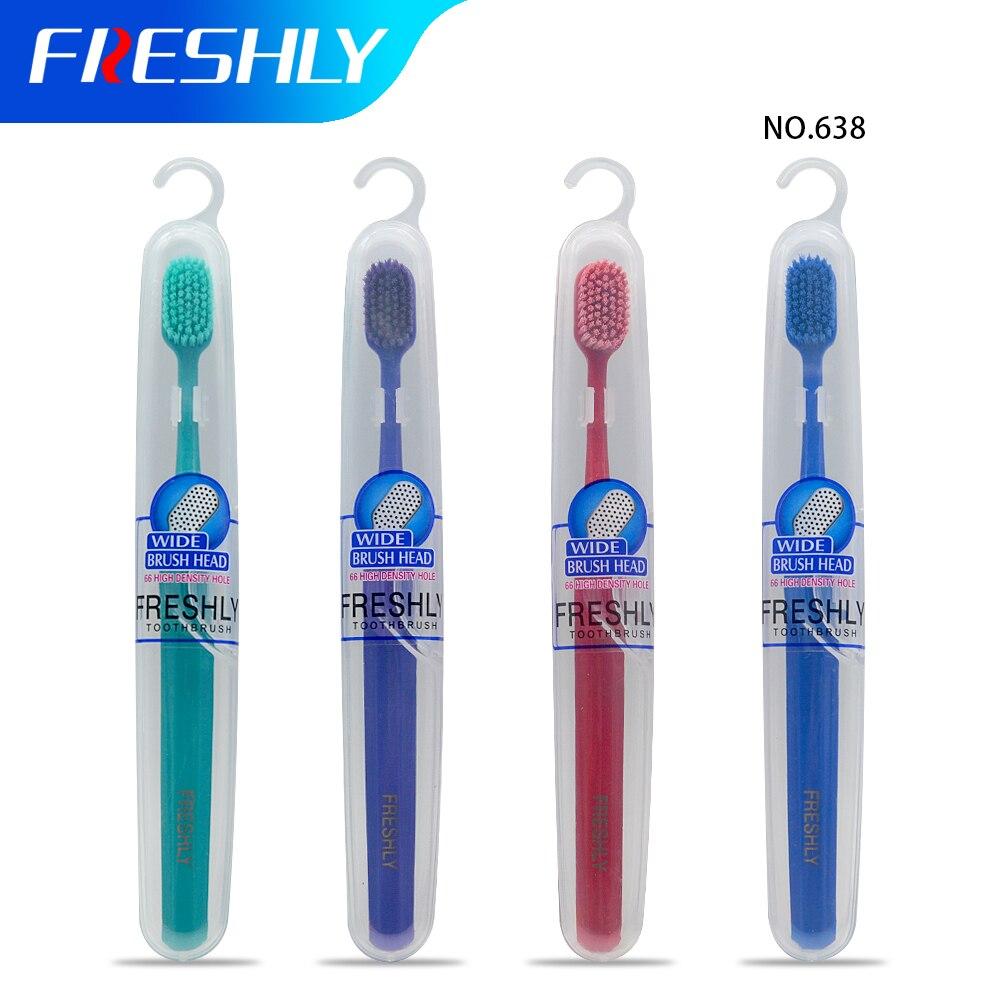 FRESHLY Toothbrush Eco Friendly Soft Bristles Adult Clean Care Gums Medium Bristles Home Unisex Travel Tooth brush