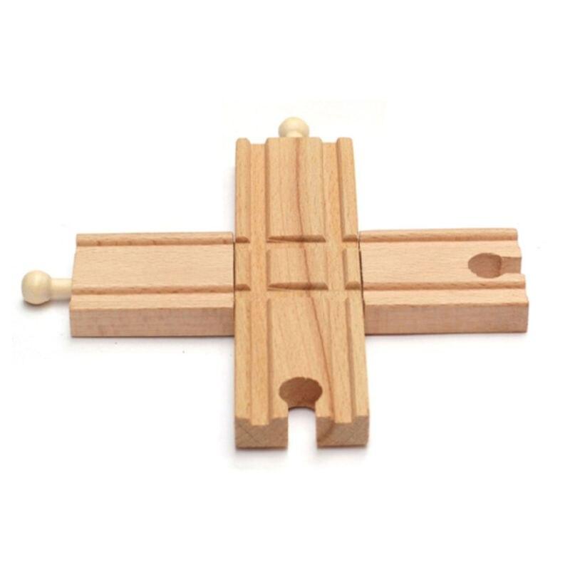 Acessórios de trilha de trem de madeira cross track railway brinquedos compatíveis toda a trilha p31b