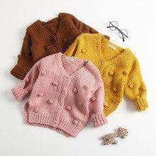 Pudcoco-pull tricot solide   Nouvelle mode, automne-hiver 1 à 3 ans, bébé fille, chaud, tricot boule 3D, col en v, hiver Stock