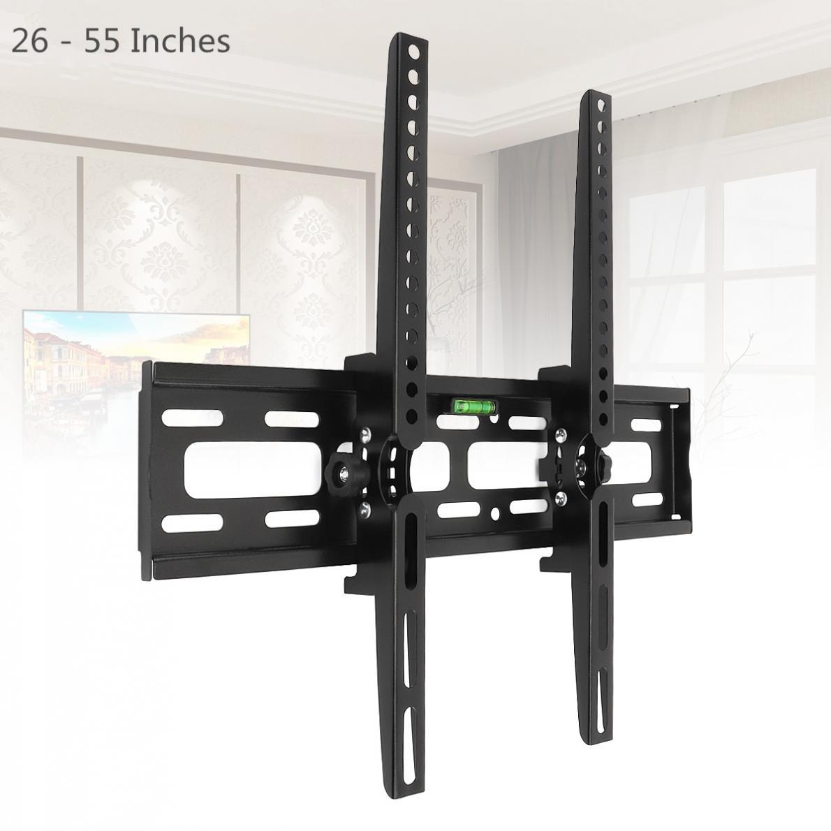Universal 30KG Adjustable TV Wall Mount Bracket Flat Panel TV Frame Support 15 Degrees Tilt with Level for 26 - 55 Inch LCD LED