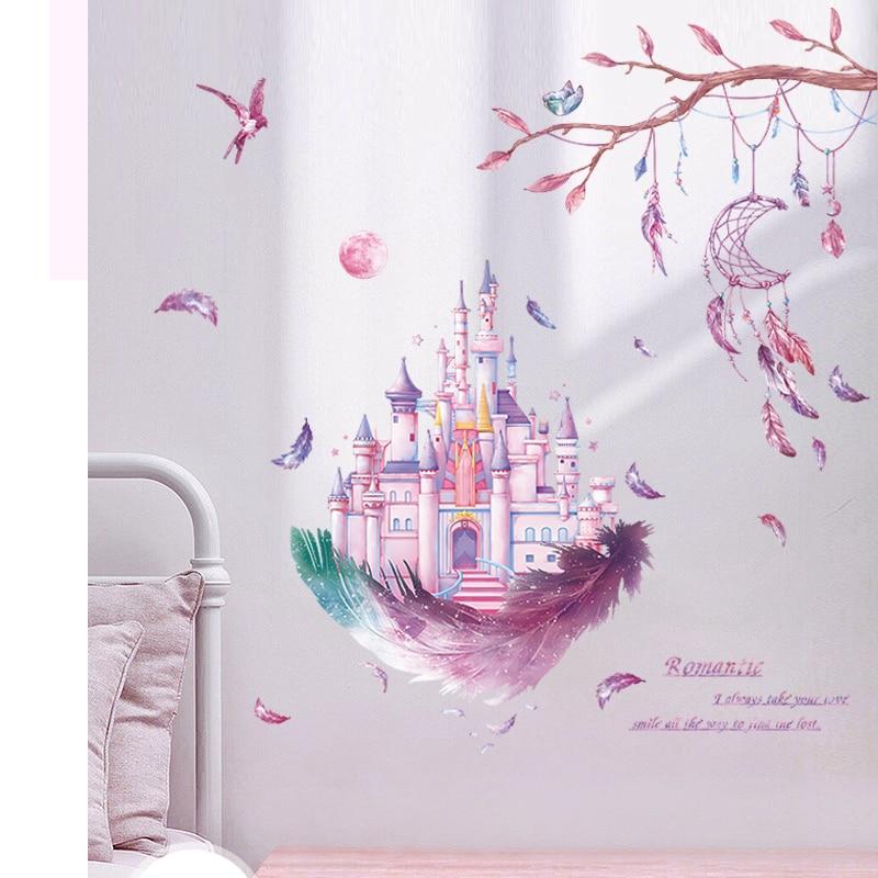 Романтические настенные стикеры Детские фрески с пером и замком, декор для детской комнаты, украшение для детской комнаты