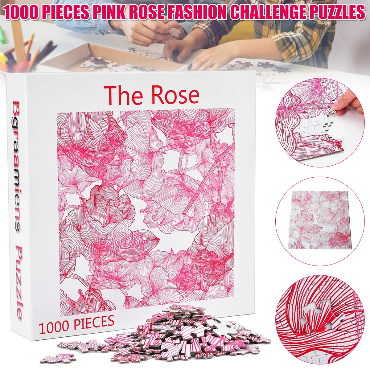 1000pcs Wooden Puzzle Rose Pattern Fashion Challenge Blue Board Jigsaw Puzzles Gift for Adult Kids LBV