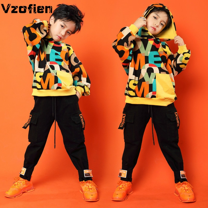 Boys Jazz Dance Costumes Children Street Dancing Clothes New Style Modern Hip Hop Stage Performance
