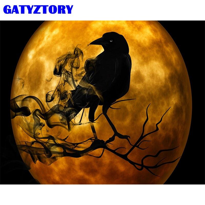 Gatyztory quadro diy pintura por números pássaros da lua animais lona por números kits de pintura acrílica sobre tela para obras de arte em casa