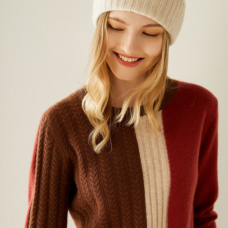 Tailor Shop Custom Made Color-blocking Pure Cashmere Sweater Loose Pullover Sweater Inside and Outside Wear Fashionable Sweater enlarge