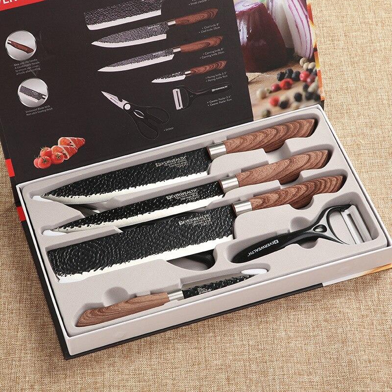الفولاذ المقاوم للصدأ سكاكين المطبخ 6-Piece طقم السكاكين s طقم السكاكين هدية طقم السكاكين بوتيك السعر المنخفض مطبخ Gagets