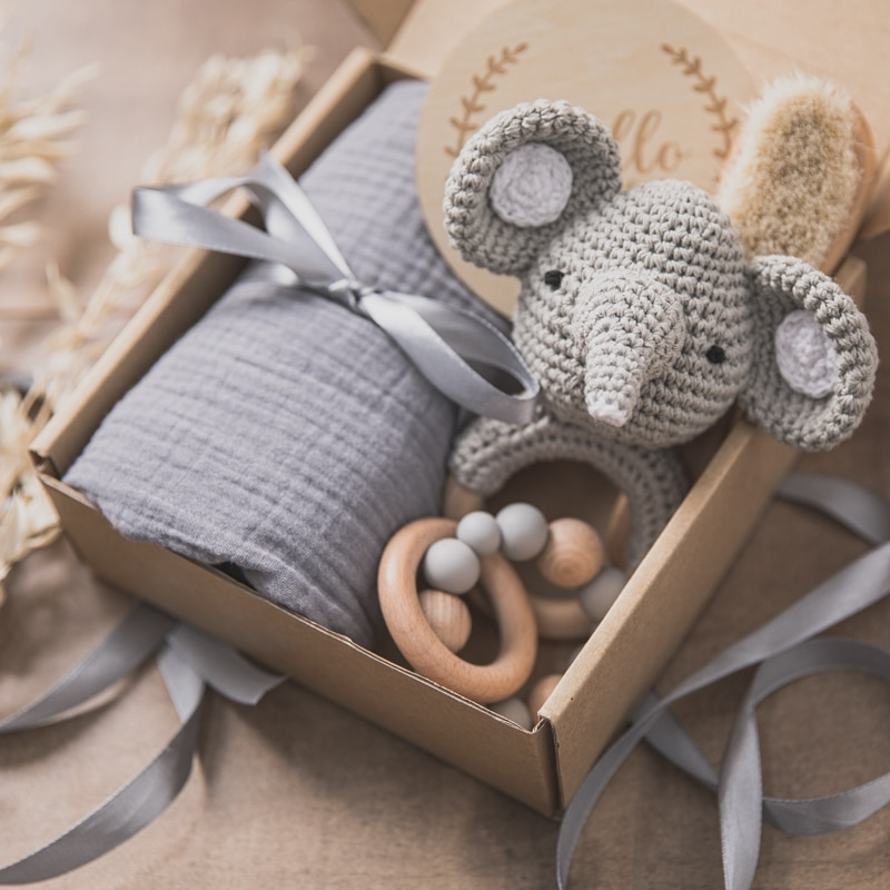 Baby Rattle Set Newborn Bath Toy Set Wooden Crochet Rattles Toys Double Sided Cotton Blanket Bracelet Bibs For Newborn 0-12month
