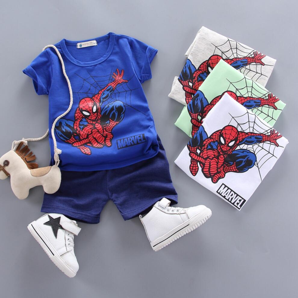Conjunto de ropa de verano para niños, trajes de dibujo de Spider-Man para bebés, ropa deportiva, chándal de algodón para niños de 1 2 3 4 años