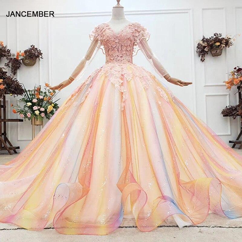 HTL1787-فستان كوينسيانيرا ساحر بألوان قوس قزح ، 2020 ، ياقة على شكل v ، أكمام طويلة ، ثوب الكرة ، الدانتيل الخلفي
