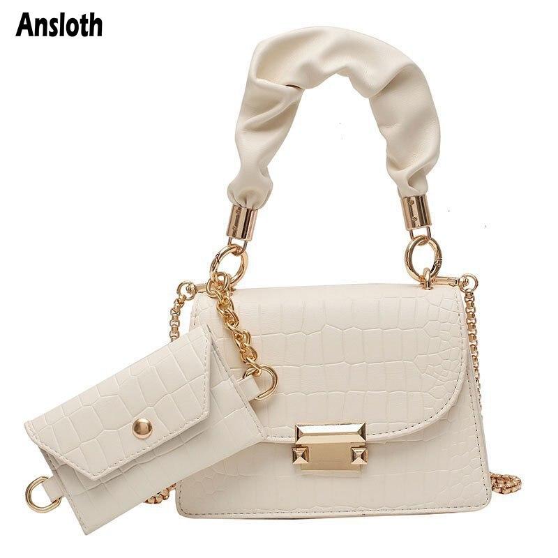 Ansloth Chain Luxury Women's Bag Design Stone Pattern Crossbody Bags Female Fashion Mini PU Leather Tote Bag Whith Purse HPS1009
