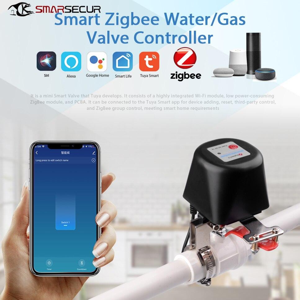 SMARSECUR زيجبي الذكية اللاسلكية التحكم الغاز صمام المياه الحياة الذكية زيجبي اغلاق المراقب المالي