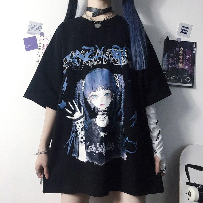 Summer Goth Female Tee Aesthetic Loose Women T-shirt Punk Dark Grunge Streetwear Ladies gothic Top T-shirts Harajuku Clothes y2k