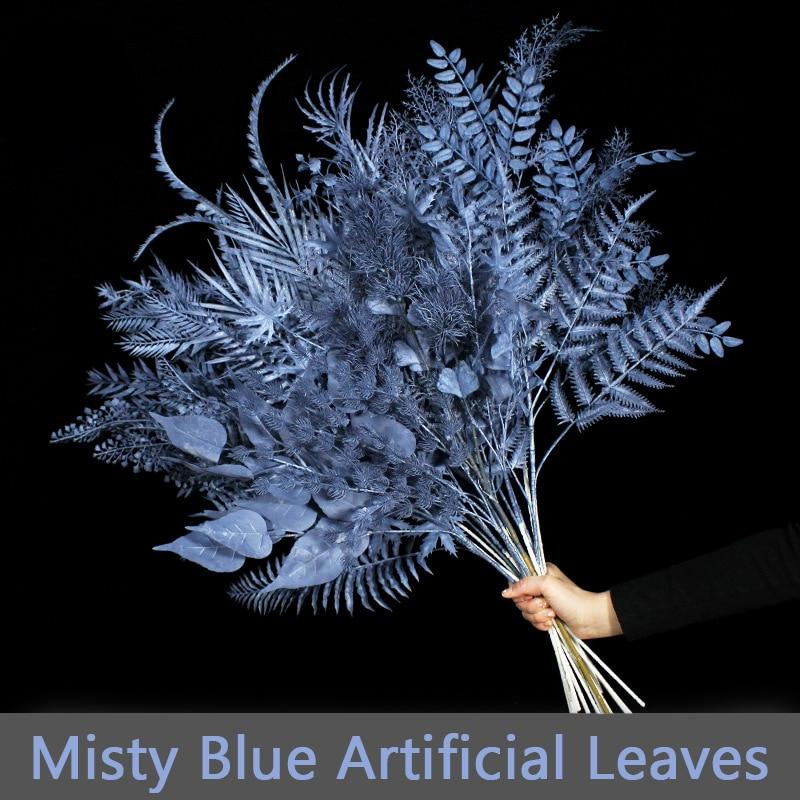 Hojas artificiales Misty Blue para decoración del hogar, flores de Yucca para...