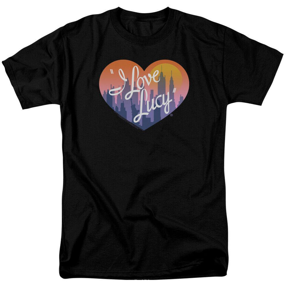 I Love Lucy camiseta hombres mujeres ciudad Logo camiseta negra traje Casual