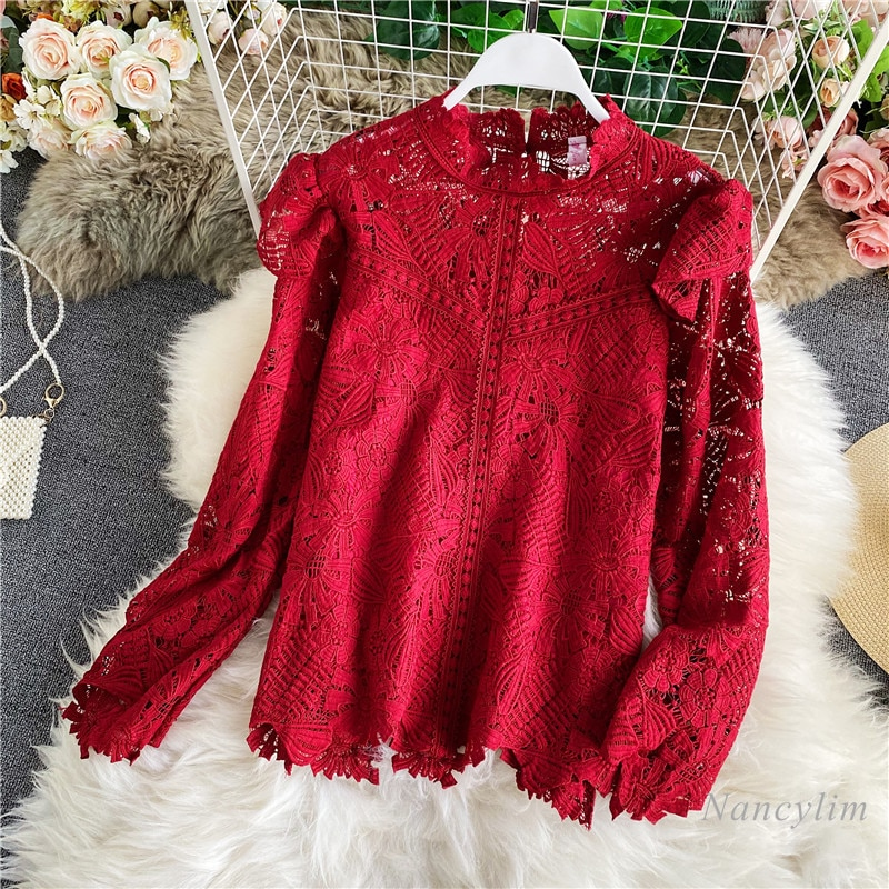 hollow out crochet insert frill top Lace Top Women Vintage Court Style Stand Collar Crochet Hollow-out Elegant All-Matching Elegant Shirt Lady Blouse Blusas