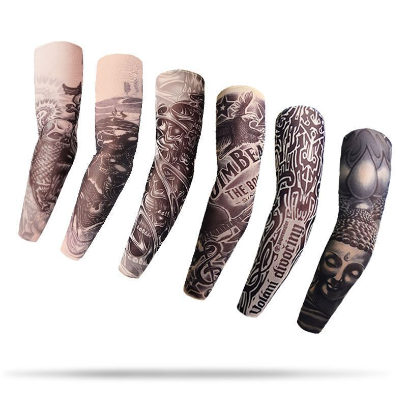 wholesale 1pcs arm warmers cycling sleeves manga tattoo sleeve printed uv protection mtb bike bicycle arm protection ridding 1Pc Outdoor Cycling Sleeves 3D Tattoo Printed Armwarmer UV Protection MTB Bike Bicycle Sleeves Arm Protection Ridding Sleeves