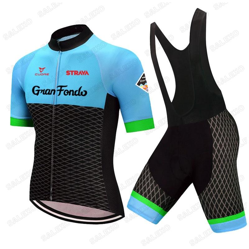 STRAVA-Camiseta de manga corta de Ciclismo para hombre, pantalones cortos para bicicleta,...