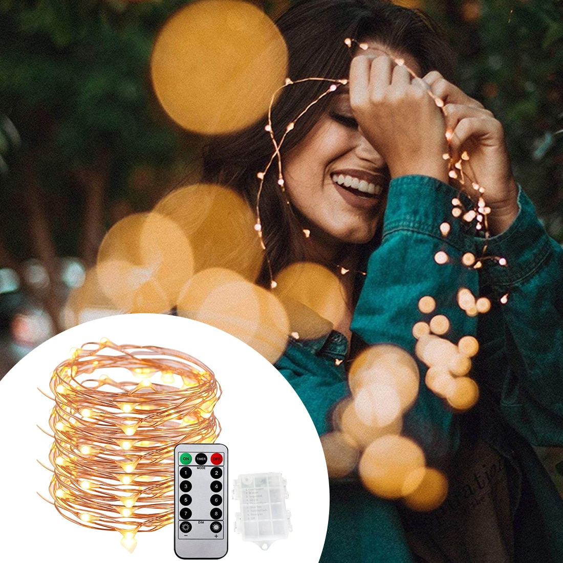 10m Waterproof Light Copper Wire LED String Lights Outdoor Garden Decoration Christmas Wedding New Year Decorate Battery Powered