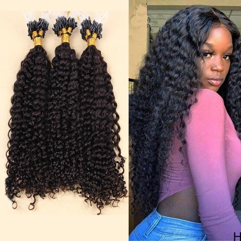 Mongolian Kinky Curly Micro Loop Hair Natural Color Curly Micro Loop Human Hair Extensions Brazilian Loop 1g/strand 100 g/set