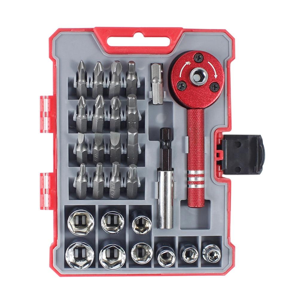Juego de destornilladores de trinquete de 28 Uds con 9 enchufes y 16 Bits, Kit de herramientas de reparación para el hogar multifuncional de 28 piezas, Kit de destornilladores de trinquete