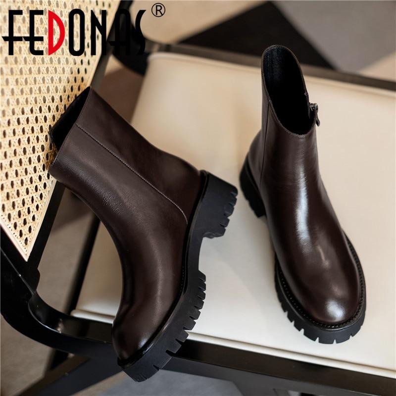 أحذية FEDONAS ، جلد ، مثيرة ، للنساء, أحذية نسائية عصرية ، أحدث أحذية من الجلد الطبيعي ، أحذية بكعب سميك ، أحذية شتوية ، مزودة بسحاب جانبي ، أحذية ...