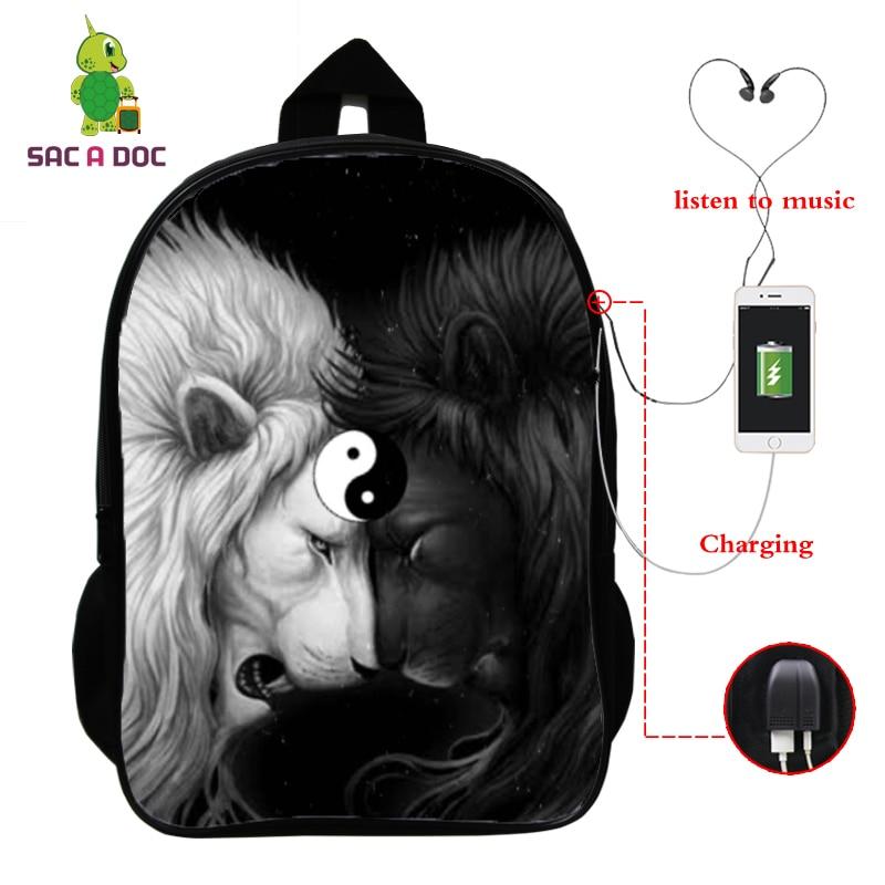 College Students Backpack 16 Inch School Backpack Laptop Backpack Boys Girls Teenager Lion 3d Usb Sc