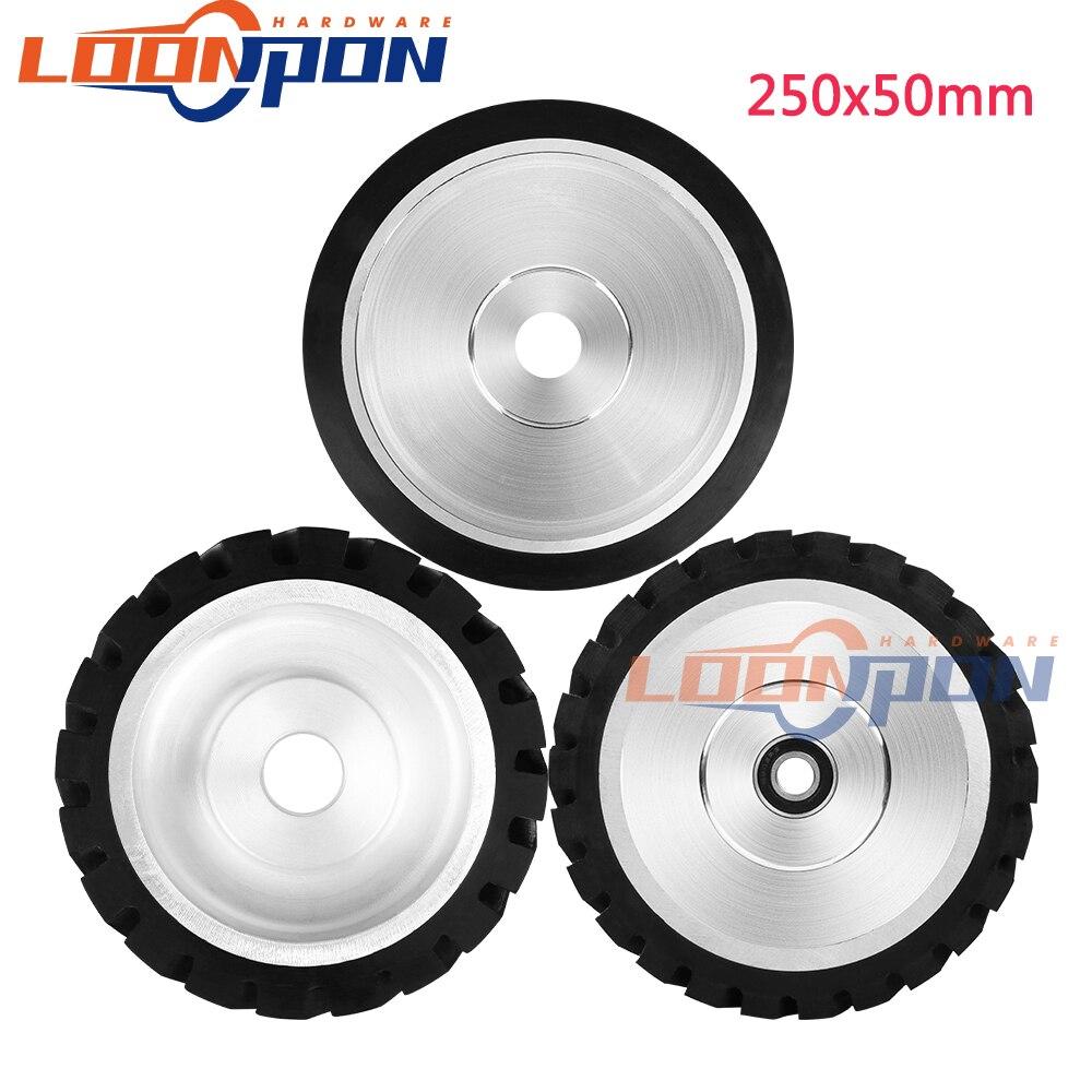 250x50mm Serrated Rubber Contact Wheel Belt Sander Polishing Wheel Abrasive Belt Set 1PC