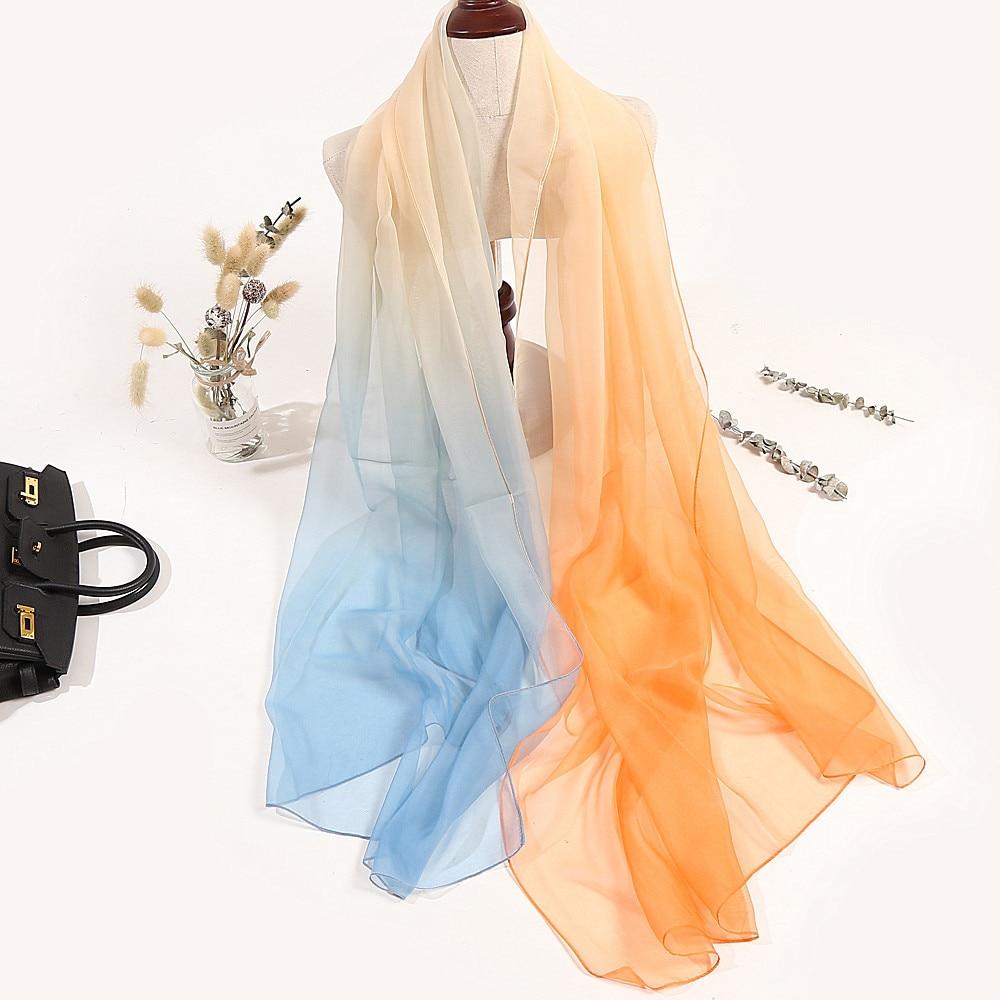 Fashion Gradient Printing Chiffon Scarves Silk Scarf Women 180*90cm Large Long Soft Sunscreen Scarf Scarves Wrap Beach Shawl недорого