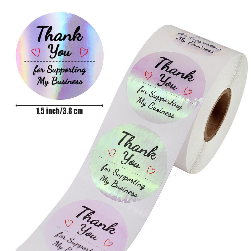 500 шт Круглые голографический цвет серебристый, золотой наклейка «спасибо» Свадебные Приглашения уплотнения конфеты коробки для подарков ...