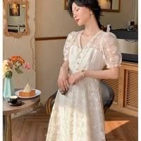2021 summer korean elegant midi dress women v neck short sleeve lace floral french vintage dress female party one piece dresses