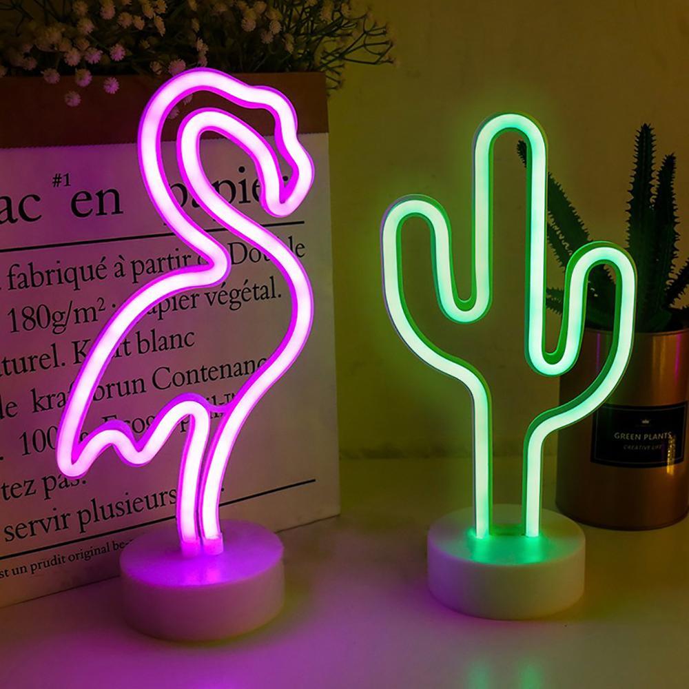 Rainbow Led Neon Signs Light USB 12V Flamingo Unicorn Wedding Bar Shop Window Room Home Decor Bulb For Christmas Gift Table Lamp