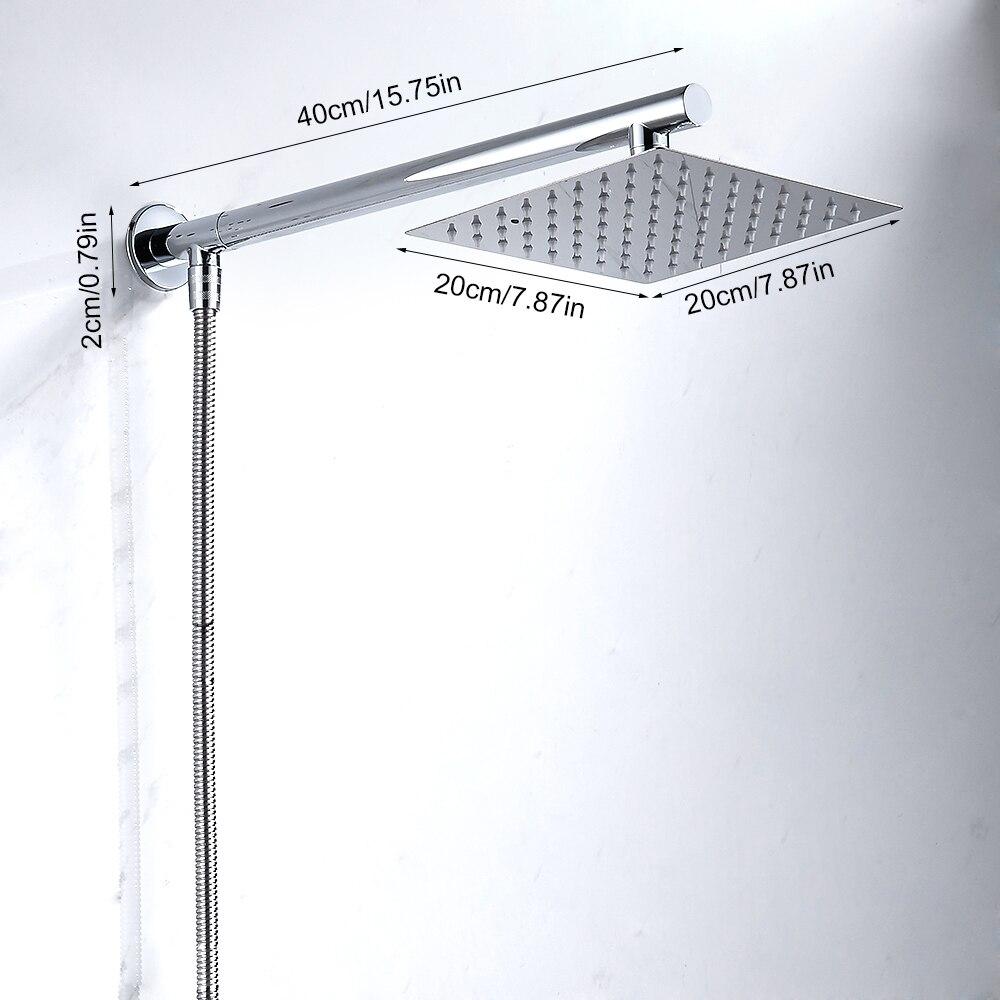 """קיר רכוב מקלחת גשם ראש סט Chrome 8 """"Ultrathin מקלחת ראש + נירוסטה מקלחת זרוע + Srainless פלדה מקלחת צינור"""