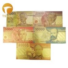 5 шт чили 1000-20,000 песо золотые банкноты Красочные 24k Золотая фольга банкноты для сувениров, золотые банкноты