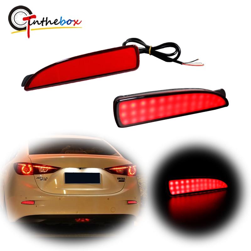 أحمر LED المصد الخلفي عاكس/مصابيح العلامات الجانبية لمازدا 3 سيدان وظيفة كما الفرامل الذيل والضوء الخلفي الضباب ، بدوره مصباح إشارة