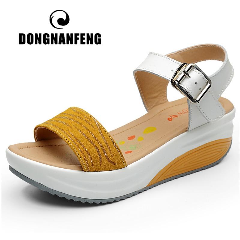 DONGNANFENG المرأة السيدات الإناث حقيقية الأحذية الجلدية منصة الصنادل عالية الكعب الصيف بارد شاطئ الوجه بالتخبط 35-40 CDBY-5531
