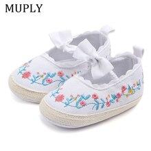 Broderie bébé filles chaussures pour nouveau-né infantile premiers marcheurs bébé filles enfant nœud noeud doux anti-dérapant princesse chaussures 0-18 mois