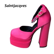 Brand Designer Pumps Luxury Satin Cloth Crystal Buckle Spring Summer Female Party Runway Shoes Round