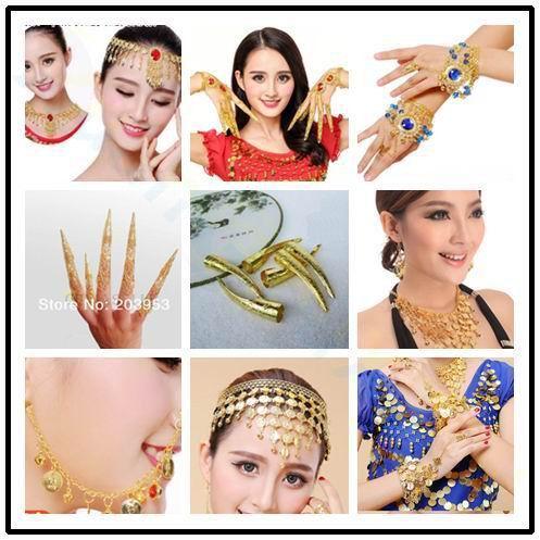 5pcs ethnic dance avalokitesvara belly dance nail sets nail wrap India dance false finger nail dancing costume props