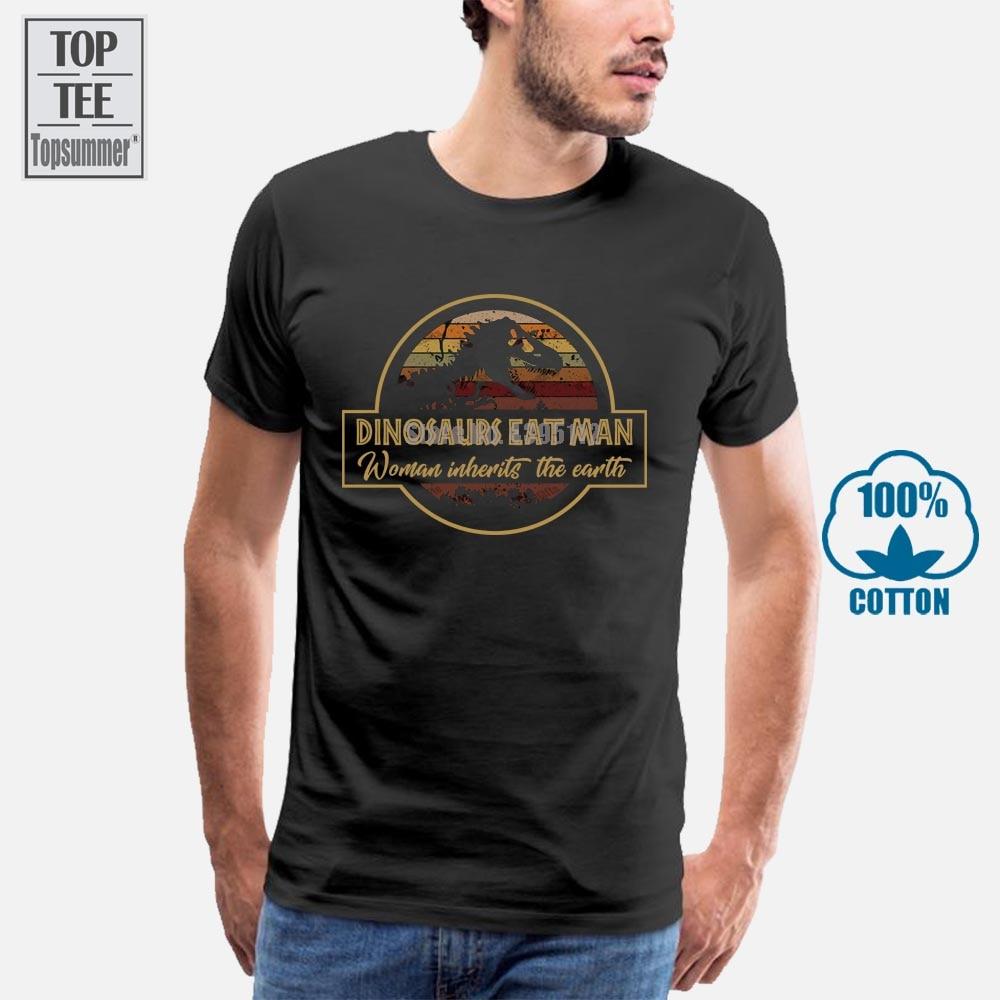 Dinosaurs Eat Man Woman Inherits The Earth Vintage Men T Shirt Black Cotton