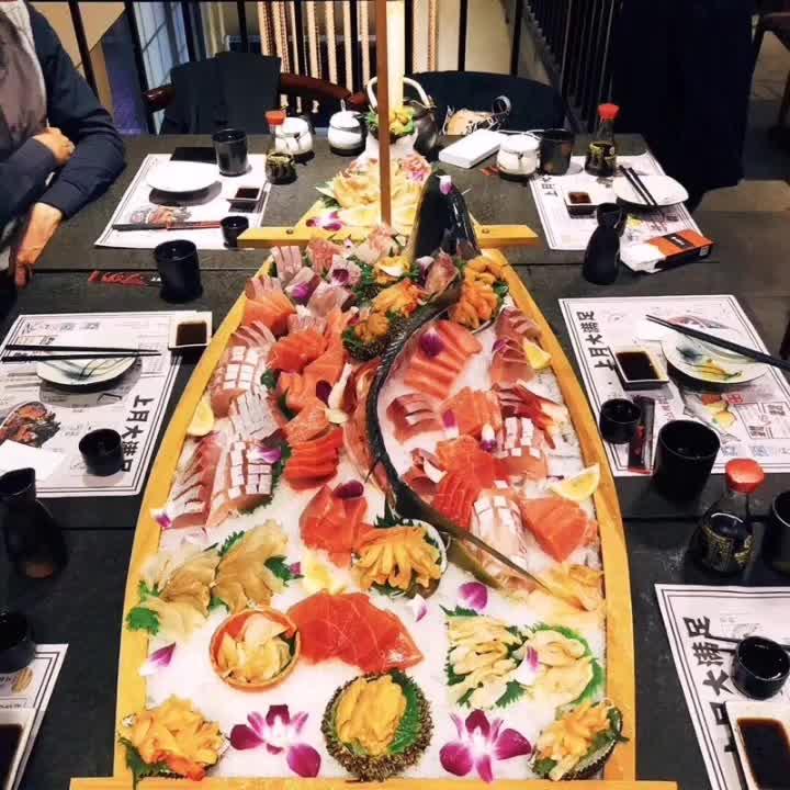 Bandeja de madera de bambú hecha a mano práctica para barcos de cocina japonesa, bandeja para Sushi, herramienta para mariscos para restaurante y hogar Sashimi, surtido de platos fríos LA402