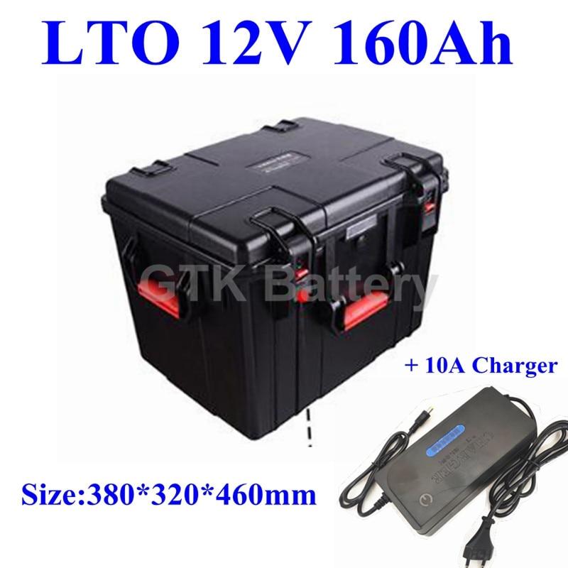 waterproof LTO 12V 160AH lithium titanate Battery Pack for Boat motor marine Solar car camper EV BMS + 10A charger