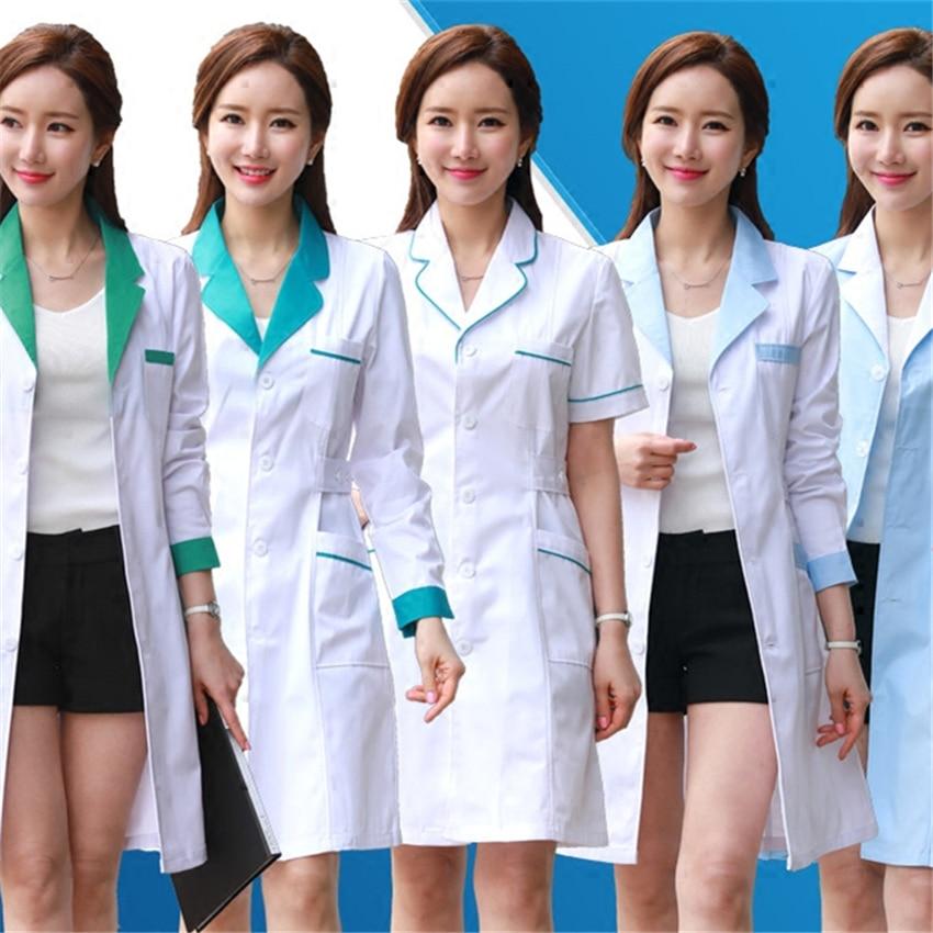 11Style Lab Uniform for Women Uniforms Work Wear Pharmacy White Coat Costume Female Spa Beauty Salon